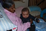 This is me, meeting my great-grandma on daddy's side for the first time. She gave me lots of cool massages when I was there